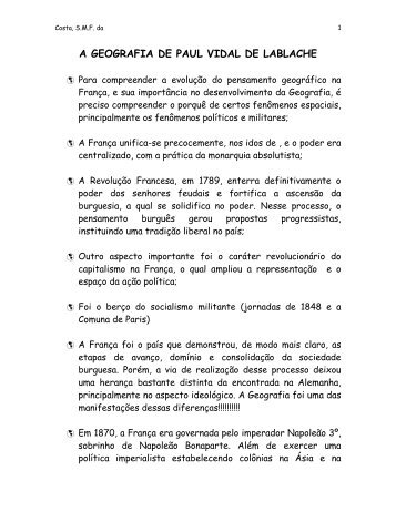A GEOGRAFIA DE PAUL VIDAL DE LABLACHE - Univap