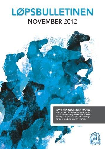 Løpsbulletinen for november 2012 - Det Norske Travselskap