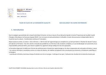 Plan de suivi Qualité, HERS-BSI - Agence pour l'evaluation de la ...