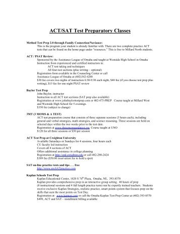 ACT/SAT Test Prep Classes - Millard North High School