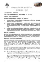 ADMISSIONS POLICY - The Diocese of Hereford