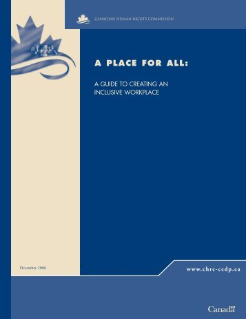 A Place for All - Commission canadienne des droits de la personne
