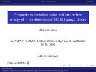 Plaquette expectation value and lattice free energy of three ...
