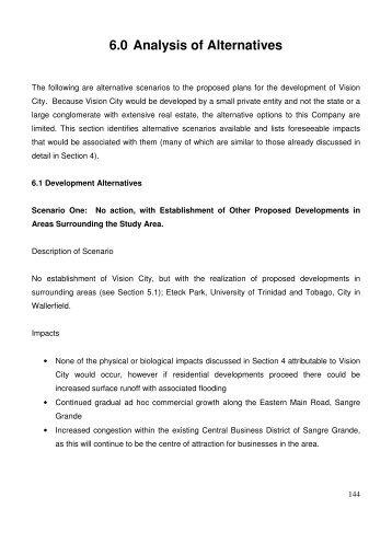 6.0 Analysis of Alternatives - Environmental Management Authority
