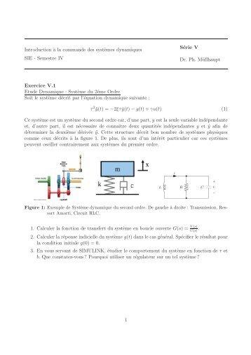 Semestre IV Série V Dr. Ph. Müllhaupt Exercice V.1 Etude ... - LA