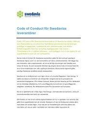 Code of Conduct för Swedavias leverantörer
