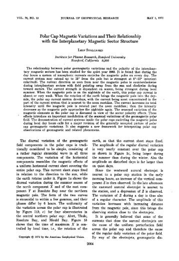 Polar Cap Magnetic Variations and Their Relationship with the ...