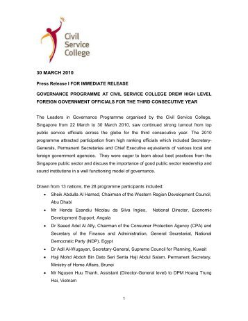 Press Release LGP2010 - Civil Service College