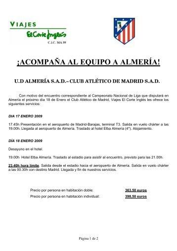 ¡ACOMPAÑA AL EQUIPO A ALMERÍA! - Viajes El Corte Inglés