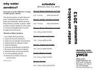 New Summer Water Aerobics Schedule effective June 3rd