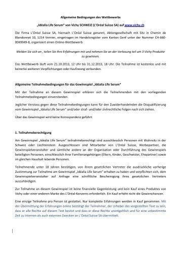 Teilnahmebedingungen - Vichy