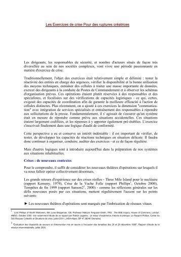 Les Exercices de crise Pour des ruptures créatrices - patricklagadec ...