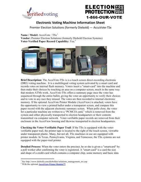 Electronic Voting Machine Information Sheet - Verified Voting