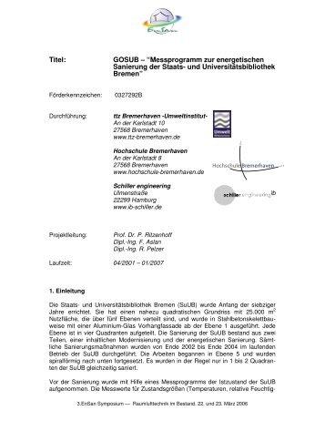 745 KB - Energetische Sanierung der Bausubstanz - EnSan