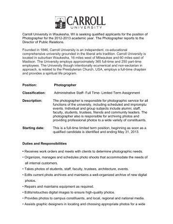 Carroll University in Waukesha, WI is seeking qualified applicants ...