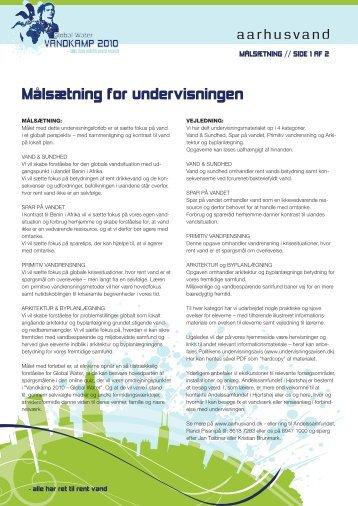 Målsætning for undervisningen - Aarhus Vand