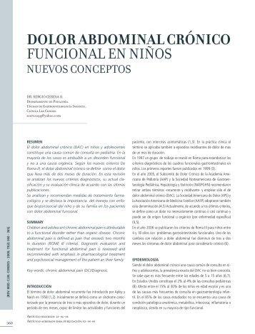 dolor abdominal crónico funcional en niños - Clínica Las Condes