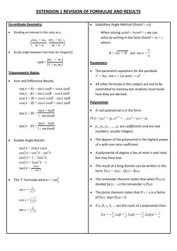 EXTENSION 1 REVISION OF FORMULAE AND RESULTS