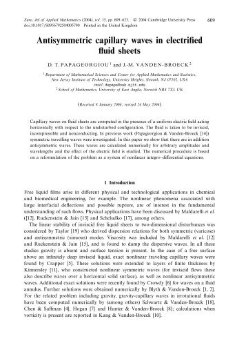 Antisymmetric capillary waves in electrified fluid sheets - College of ...