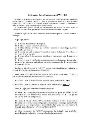 Instruções Para Cadastro do PAF-ECF - Secretaria de Estado da ...