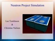 Neutron Project Simulation - Neutron Detector Homepage