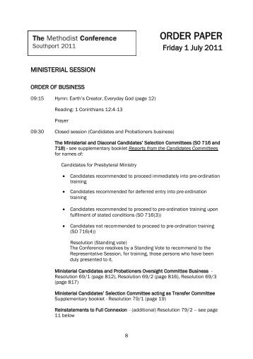 Order Paper Friday 1 July - Ministerial Session - Methodist Conference