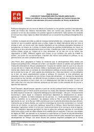 Note de lecture « FORCES ET FAIBLESSES DES ... - Fondation FARM