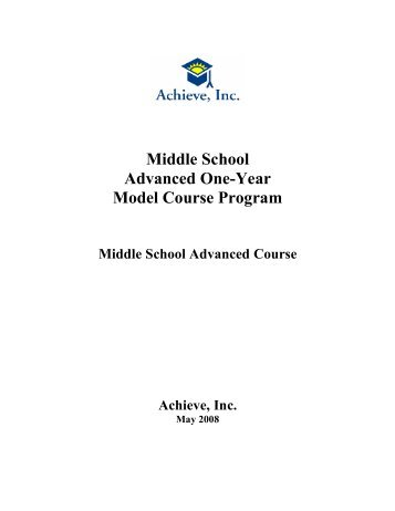 Middle School Model One-Year Advanced Course - Achieve