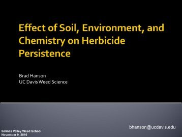 Effects of Soil, Environment, and Chemistry on Herbicide ...