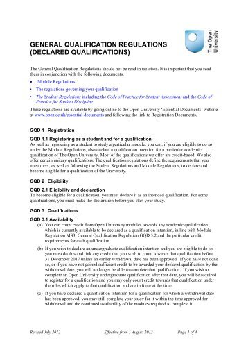 General Qualification Regulations - The Open University