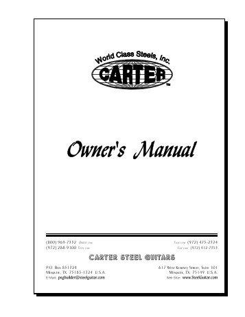 Owner's Manual - Carter Steel Guitars
