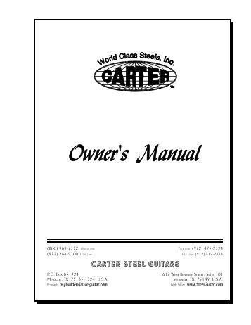 Owner's Manual - Carter Steel Guitars