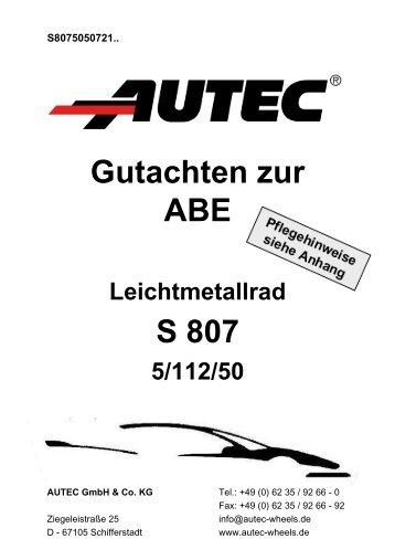 Gutachten zur ABE S 807 - AUTEC GmbH & Co. KG