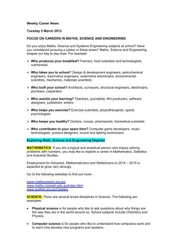 Weekly Career News Tuesday 5 March 2013 FOCUS ON CAREERS ...