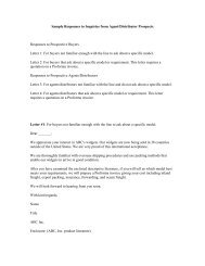 Sample Responses to Inquiries from Agent/Distributor Prospects ...