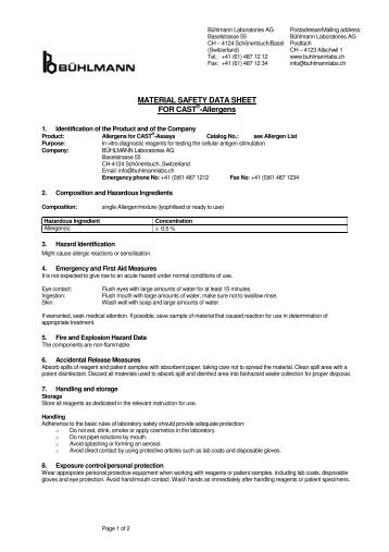 MATERIAL SAFETY DATA SHEET FOR CAST®-Allergens - ALPCO ...