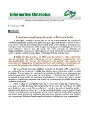 Editorial O papel dos conselhos na afirmação do Pacto pela Saúde