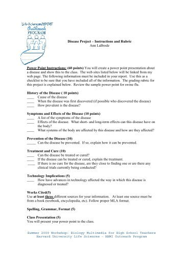Power Point Instructions: (60 points) - Life Sciences Outreach ...