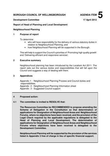5 Neighbourhood Planning - Wellingborough Borough Council
