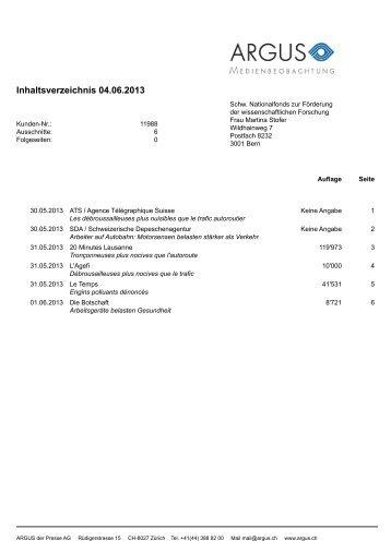 Inhaltsverzeichnis 04.06.2013 - Institut universitaire romand de ...