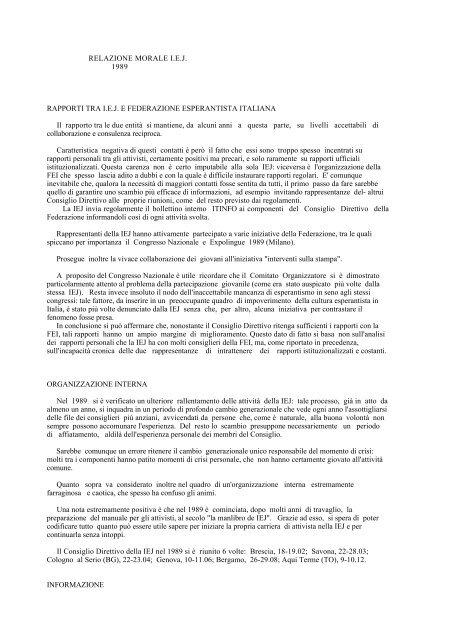 relazione morale - IEJ - Federazione Esperantista Italiana