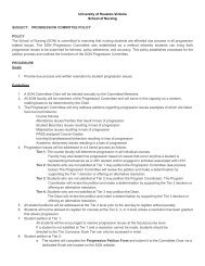 PROGRESSION COMMITTEE POLICY POLICY The School of Nursing