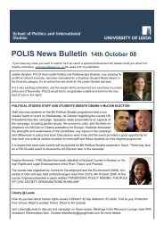 POLIS News Bulletin 14th October 08 - School of Politics ...