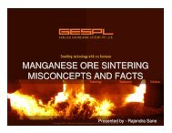 MANGANESE ORE SINTERING MISCONCEPTS AND FACTS - IIM