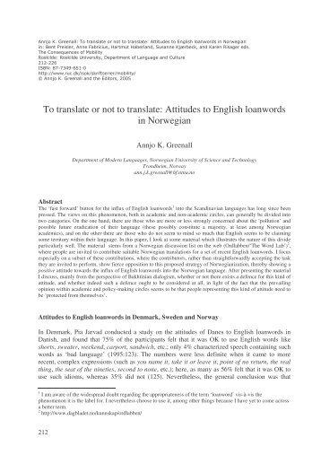 Attitudes to English loanwords in Norwegian
