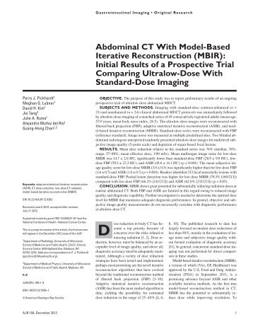Abdominal CT With Model-Based Iterative Reconstruction (MBIR ...