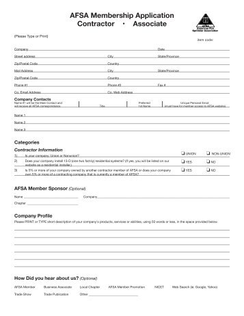 Contractor Membership Application - American Fire Sprinkler ...