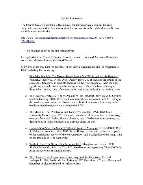 Helpful References - Mormon Handcart Trek