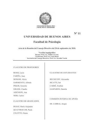 Sesión 20 de Septiembre de 2010 - Facultad de Psicología ...