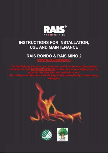instructions for installation, use and maintenance rais ... - Robeys Ltd